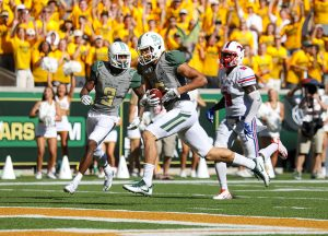 Baylor Bears wide receiver Blake Lynch (2) trots into the end zone for touchdown against the SMU Mustangs at McLane Stadium in Waco, Texas.