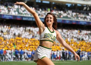 Baylor Bears cheerleader celebrates after a touchdown at McLane Stadium in Waco, Texas.