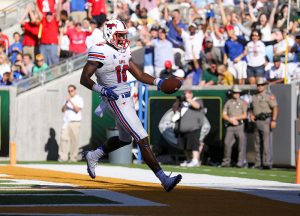 SMU Mustangs wide receiver Courtland Sutton (16) scores a touchdown against the Baylor Bears during the second half at McLane Stadium in Waco, Texas.