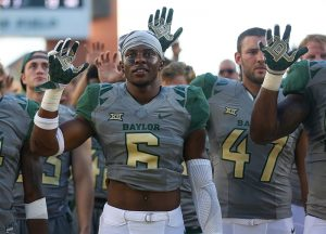 Baylor Bears safety Henry Black (6) celebrates after a 40-13 victory over the SMU Mustangs at McLane Stadium in Waco, Texas.