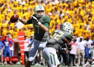 Baylor Bears quarterback Seth Russell (17) attempts a pass during the second quarter against the SMU Mustangs at McLane Stadium in Waco, Texas.