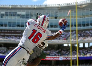 SMU Mustangs wide receiver Courtland Sutton (16) attempts to make a leaping catch over a Baylor Bears defender but it's broken up. Sutton led the Mustangs in receiving yards with 112.
