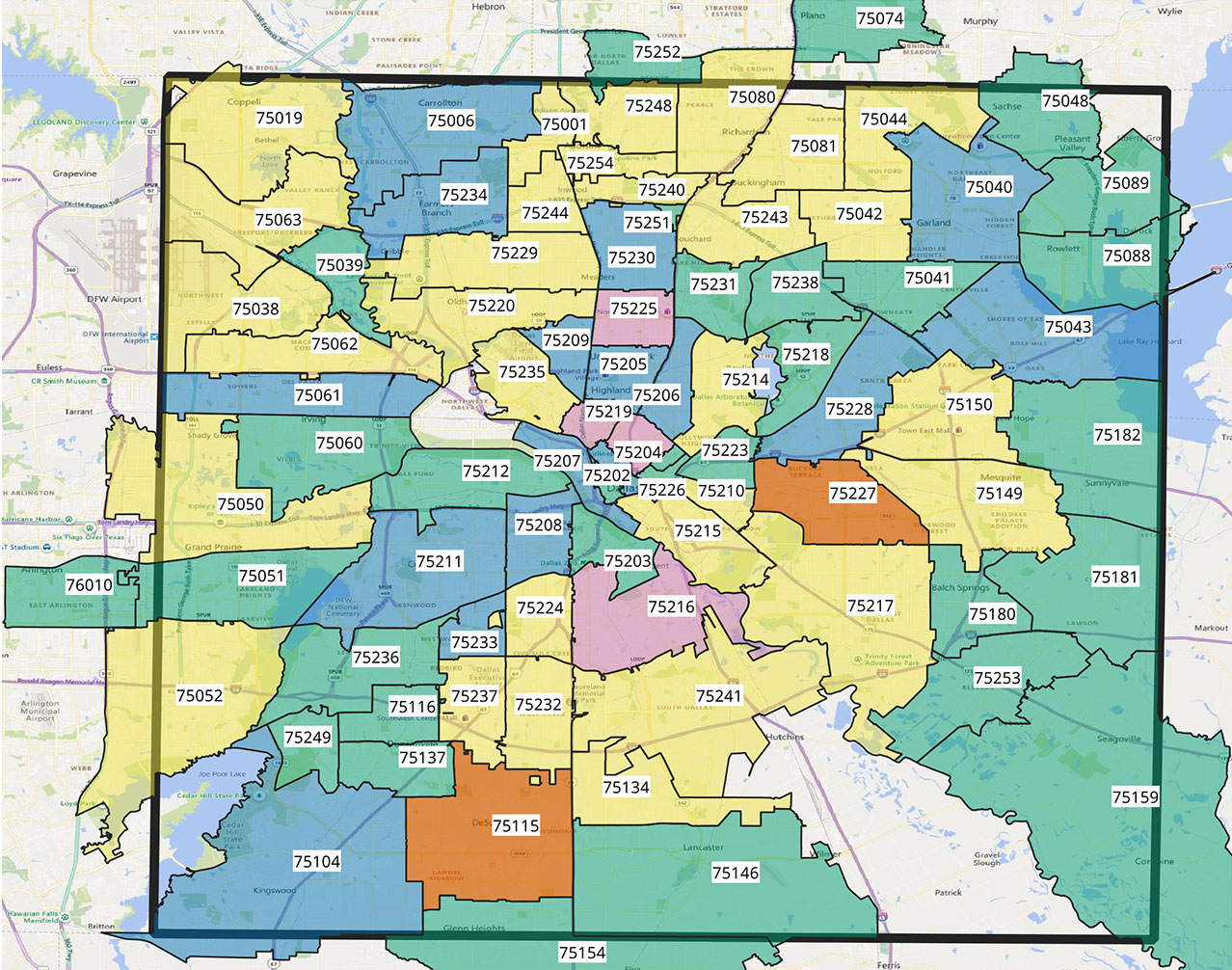 Dallas Zip Code Map Coronavirus Briefs: Dallas' Latest Zip Code Map (& More